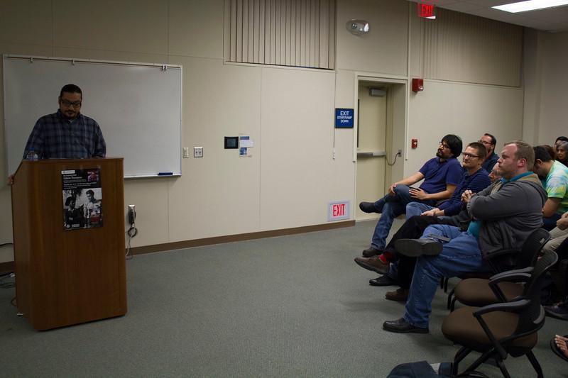BC History professor Octavio Barajas introduces Gabriel Thompson.
