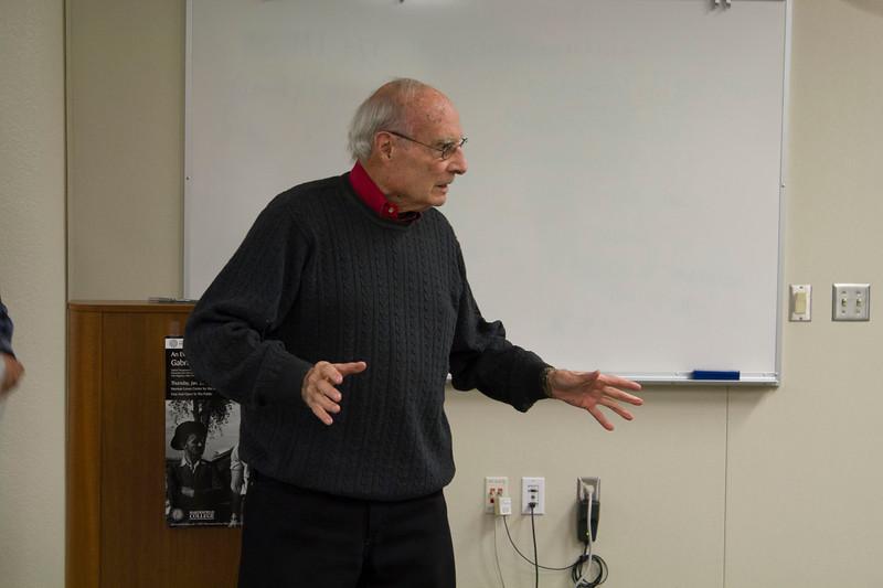 Levan Center Director Jack Hernandez introduces Gabriel Thompson.