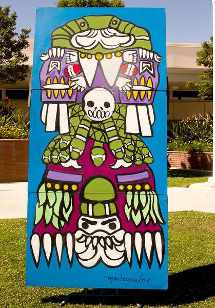 BC professor Diego Monterrubio's painting is displayed in the Administration Courtyard on April 23.