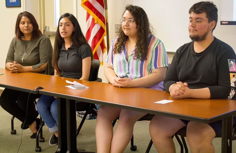 left to right: Project Conexiones students Edith Mata, Jovana Espinoza, Jennifer Lule, and Erick Plata give a presentation in the Levan Center.
