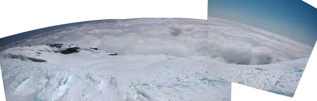 Looking down over the Whakapapa glacier.  Only two other ski tourers around today.  Nice!