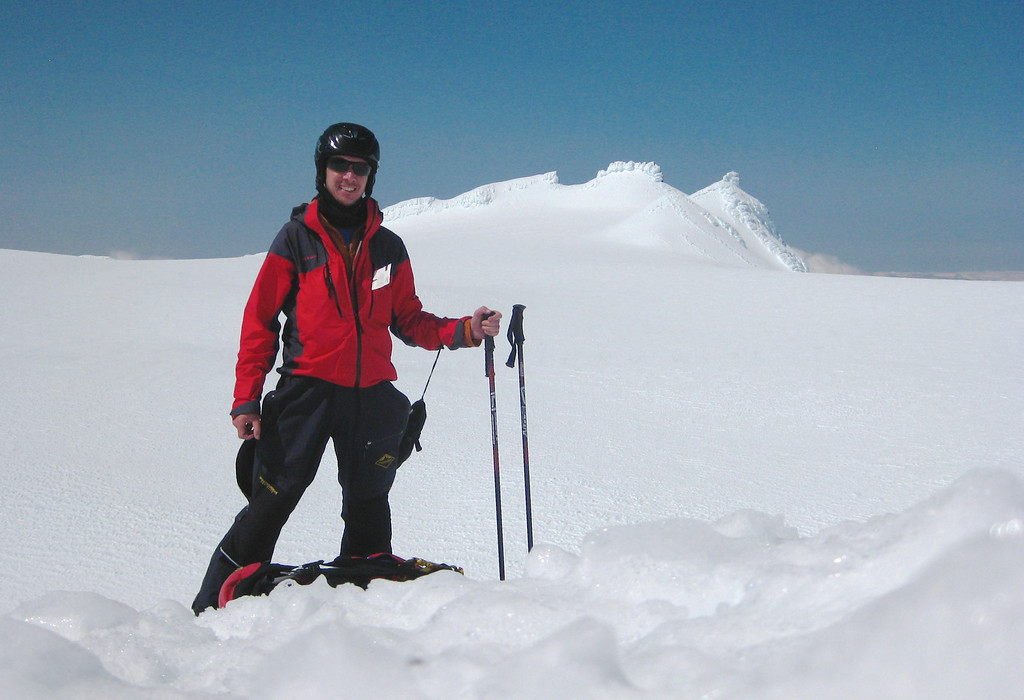 On my first attempt at ski-touring I went up from the Knoll Ridge t-bar to the summit plateau of Ruapehu.  The uphill gradient was OK but I was nervous about the descent so didn't hang around long on the plateau!