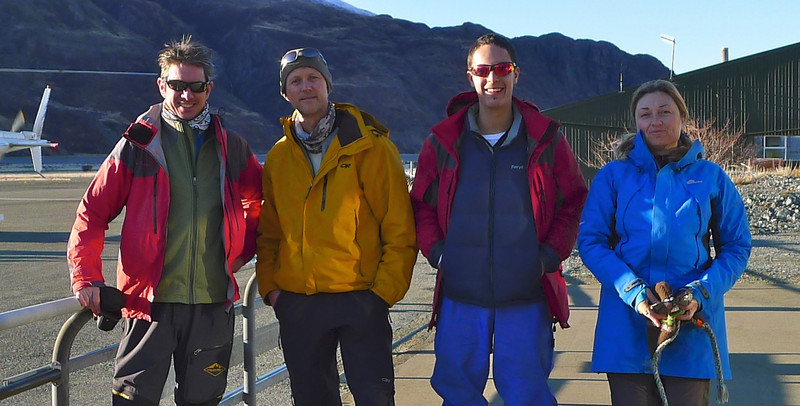 Dave, Rob, Daniel and Cherie at Mt Cook airport