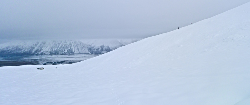 Day three was gloomy but at least there was OK visibility.  We set off for a play in the fresh snow on our dodgy gear.