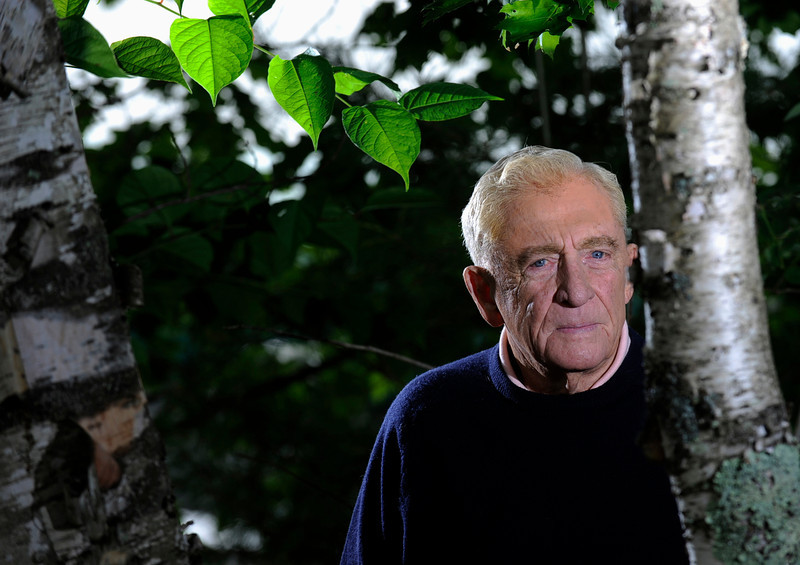 (BANGOR DAILY NEWS PHOTO BY JOHN CLARKE RUSS)<br /> <br /> CAPTION<br /> <br /> It has been 70 years since Donn Fendler, then a twelve-year-old Boy Scout from Rye, NY, lost his way while hiking with other scouts on Maine's highest peak. After wandering aimlessly for eight days and enduring the elements of Maine's rugged wilderness, he made it out alive. Photographed at his summer residence on Sebasticook Lake in Newport, Maine July 14, 2009.  (Bangor Daily News/John Clarke Russ)