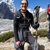 Steve Baskis trekking in the Nepal Himalayas enroute to Lobuche basecamp.