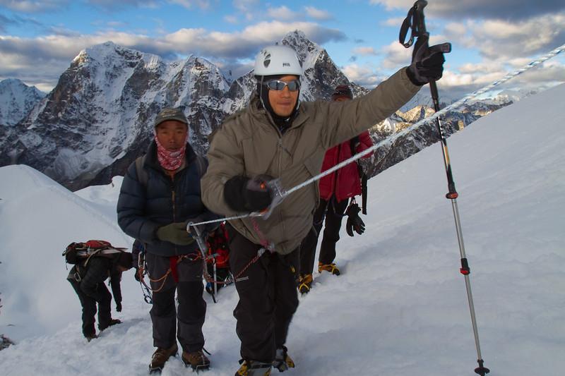 Blind vet Steve Baskis cruising up the fixed ropes. Photo by Didrik Johnck.