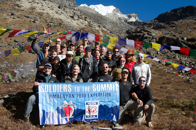 Soldiers to the Summit climbing team in Lobuche base camp. Lobuche is in the background.