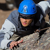 Blind soldier Steve Baskis rock climbing at Camp Hale, Colorado.