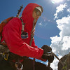 Blind soldier Steve Baskis on St. Mary's Glacier in Colorado.