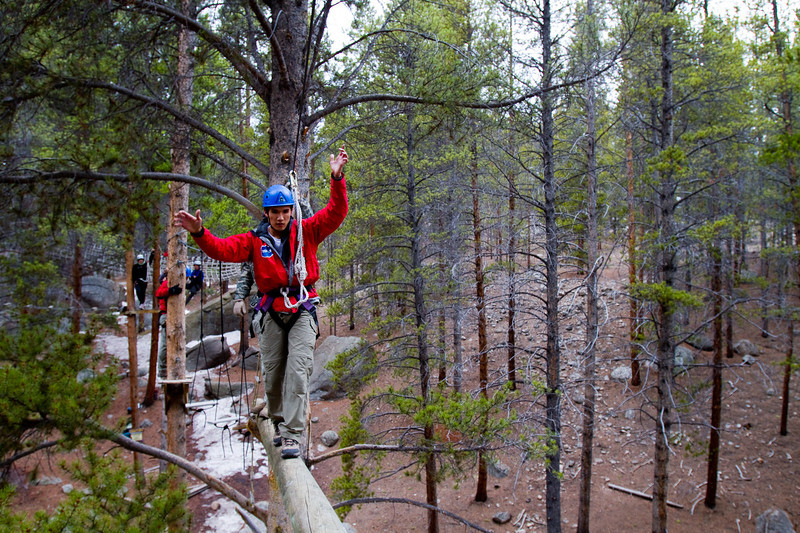 Steve Baskis on the Outward Bound ropes course.