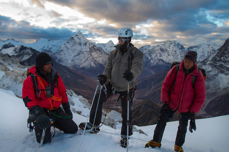 Blind soldier and climber Steve Baskis makes his way up the snow slopes of Lobuche.
