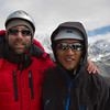 Blind climber Erik Weihenmayer and blind Soldier Steve Baskis on the summit of Lobuche at 20,075 feet.