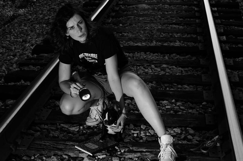 """Hannah Selector w/ Finnegan at the """"Haunted"""" Bostian Bridge"""