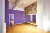 Gym indoor with wooden floor and mirror