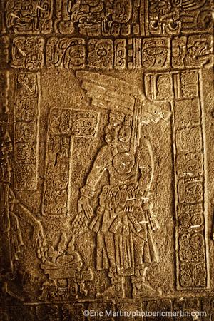 BELIZE. La stèle du site archéologique de Nim Li Punit