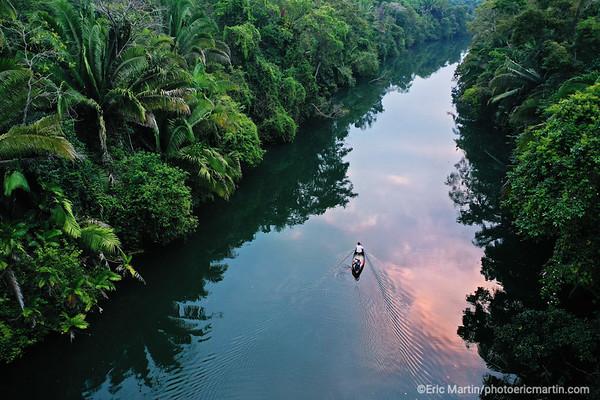 BELIZE. Pêche à l aube sur la riviere Rio Grande en contrebas de l hôtel Copal Tree Lodge