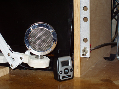 An Astatic mic head mounted on an articulated arm, and the Tx Switches at each end of the bench.