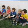 KIDS AT THE BIRTHDAY PARTY WAITING TO PLAY BALL.  AND JULIE ALSO WAITING TO PLAY BALL??