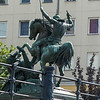 Bronze statue of St. George slaying the dragon.