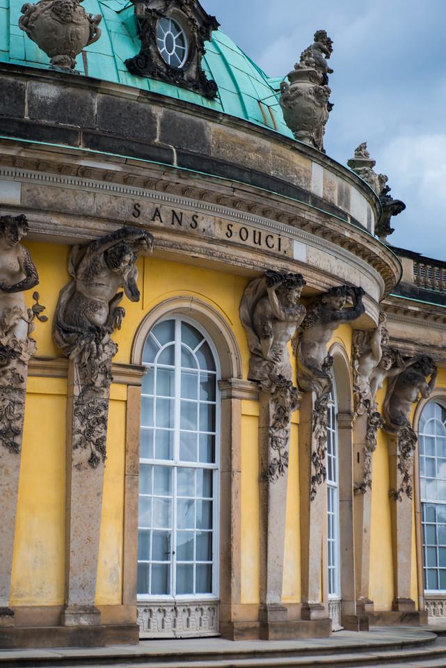 Architectural detail of the garden facade.