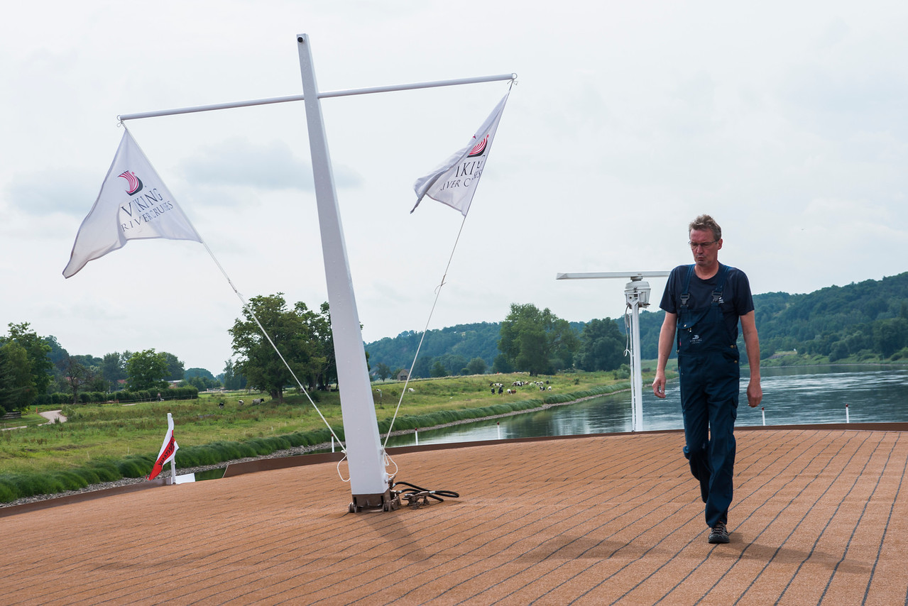 Chief Engineer Ullrich on a routine stroll of the ship.