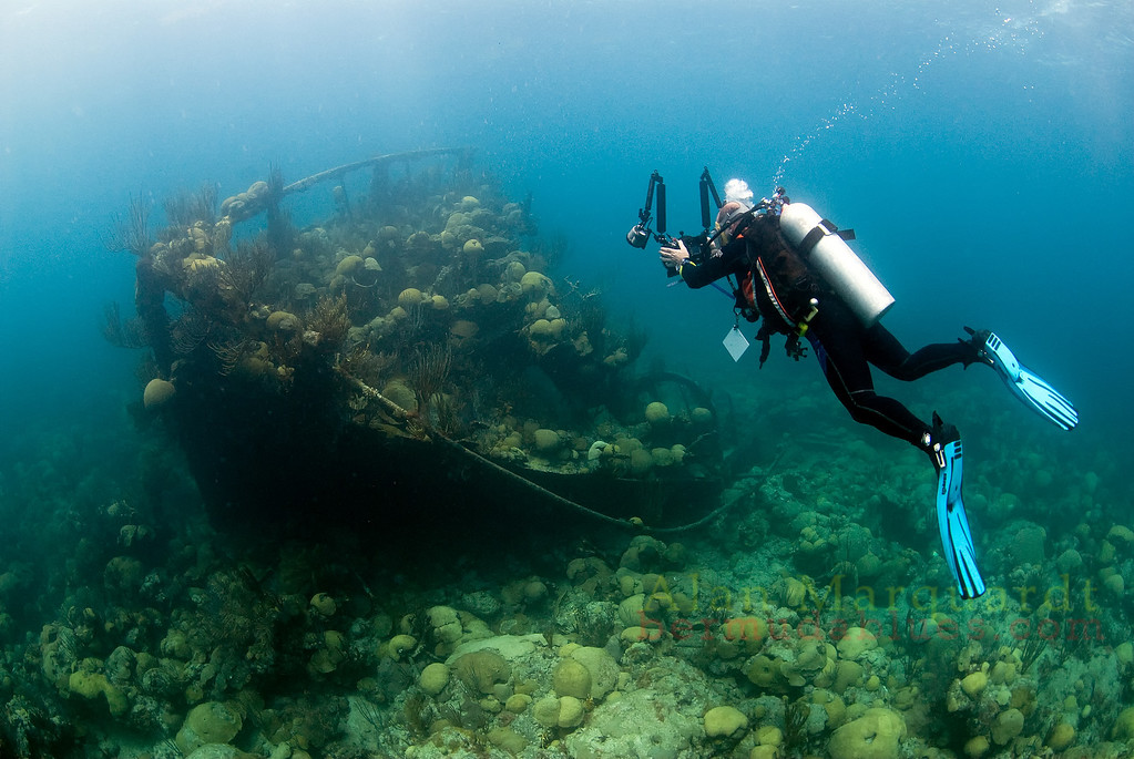 The intact bow of the wreck,Taunton, 1920. makes for an interesting photo for this diver.<br /> Northern reef, Bermuda, 2009.