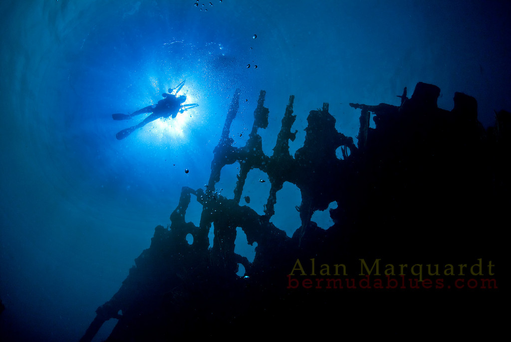 A diver swims above the bow of the wreck, Cristobal Colon, 1936.<br /> Northern reef, Bermuda, 2009.