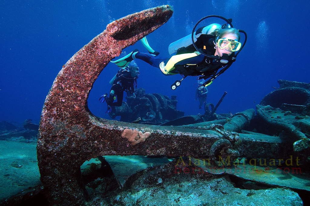 The wreck of the Caraquet which sank on June 25 1923, on Bermudas reef line. North shore, Bermuda.