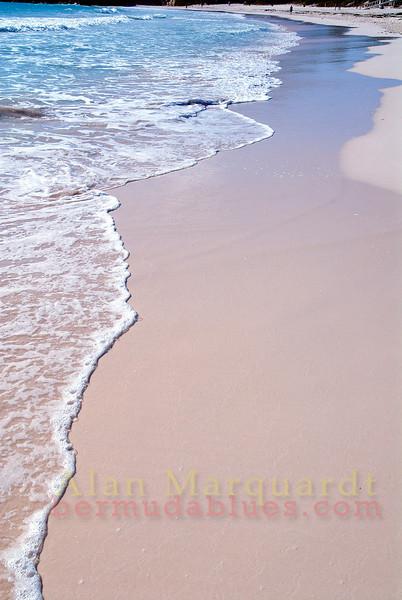 Beautiful pink sand on the beach, Horseshoe Bay, Bermuda.
