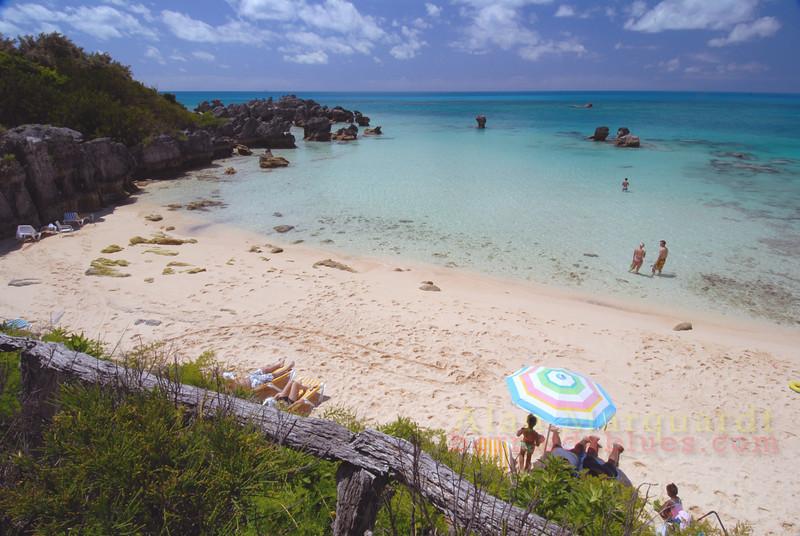 The beach under Black Beards pub St. Georges, Bermuda.