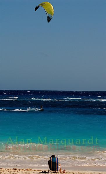 Kite surfing on Elbow beach, Bermuda.