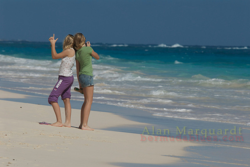 Playing on the beach, Bermuda.