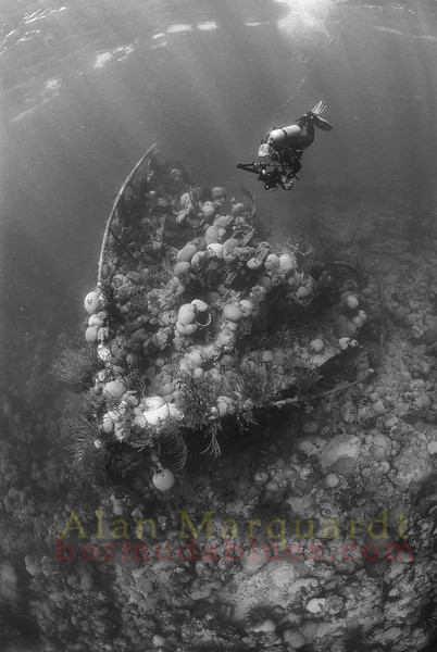 The bow of the wreck,Taunton, 1920. <br /> Northern reef, Bermuda, 2009.