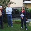 Mariam Avins (R) speaking about community gardens.  Christiene Weber on left margin. Morgan Grove (L).