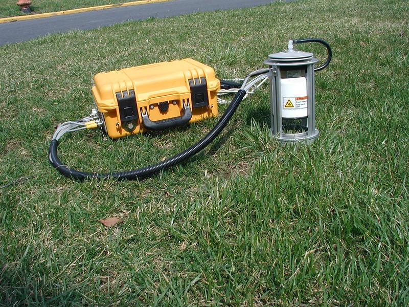 LI-8100 soil chamber device for measuring carbon dioxide flux.