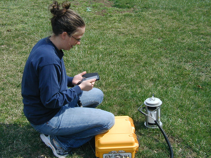 Christine Rega using an LI-8100 soil chamber device for measuring carbon dioxide flux.