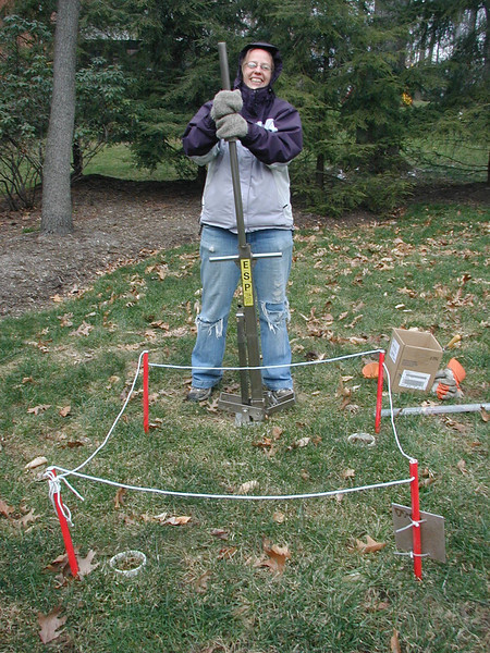 Hitting sampling core into ground in quadrant plot.