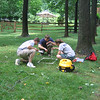 Sampling for carbon in a lawn.  Clipping and vaccuming.