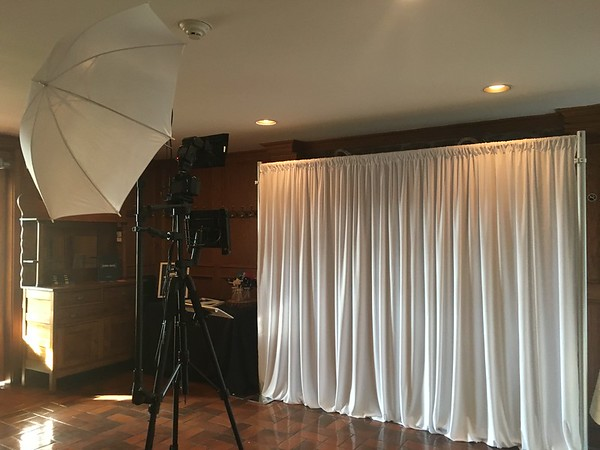 Wedding bespoke booth, featuring a bridal white backdrop.