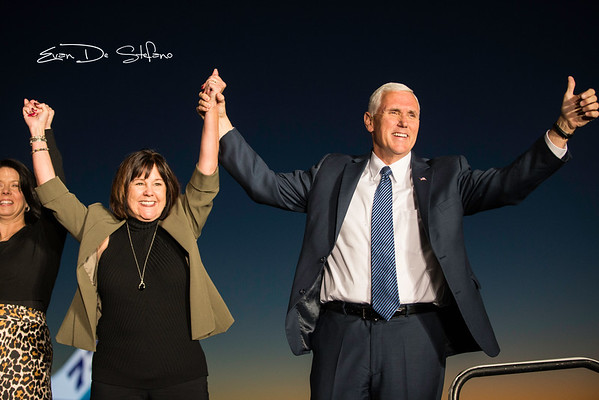 Vice President-Elect Mike Pence arrives at the Indianapolis Airport with wife Karen Pence (Middle), daughter Charlotte Pence (Left) on November 10, 2016.