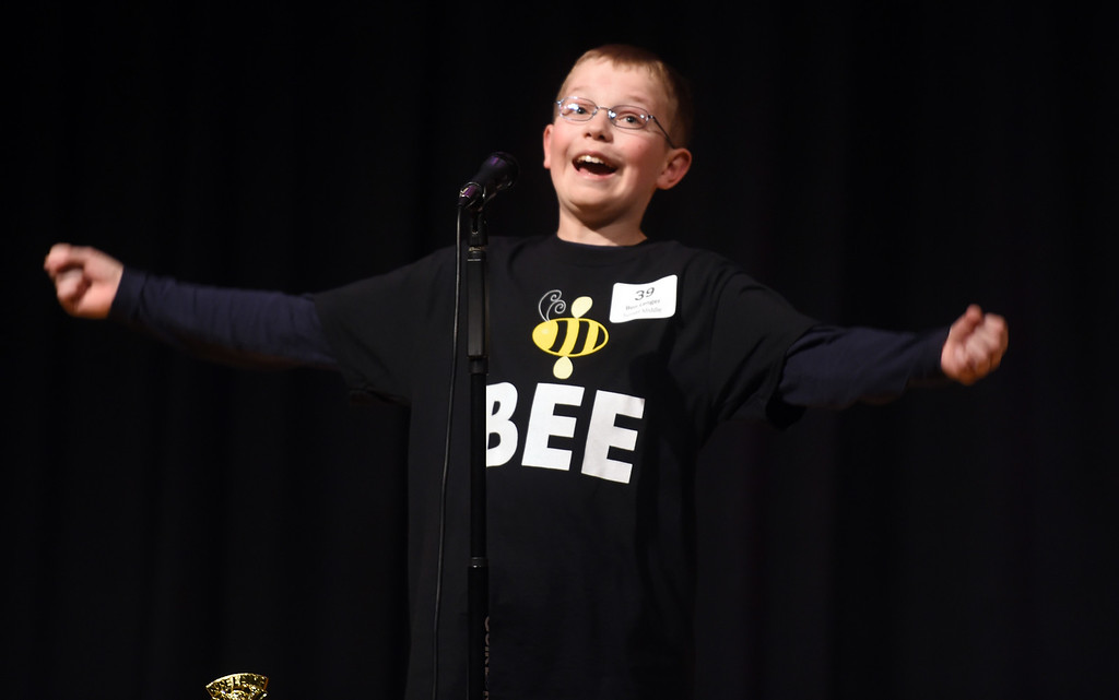 . Ben Lenger, of Sunset Middle School in Longmont, wins a tough battle at the bee. The 2017 Barnes & Noble Boulder Regional Spelling Bee was held at Nevin Platt Middle School in Boulder on Saturday. Cliff Grassmick  Staff Photographer February 25, 2017