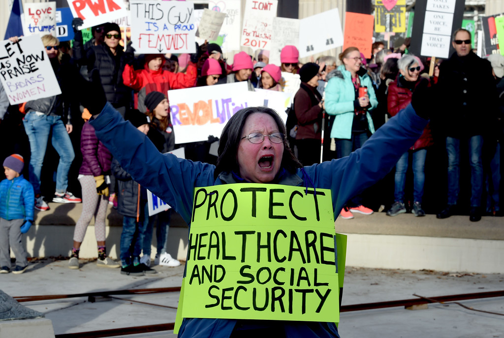 . Anita Hartmann, of Broomfield, leads protesters in chants during the march. Tens of thousands of people participated in the Denver Women\'s March around downtown and Civic Center Park on Saturday morning. For more photos and a video, go to www.dailycamera.com. Cliff Grassmick / Staff Photographer / January 21, 2017