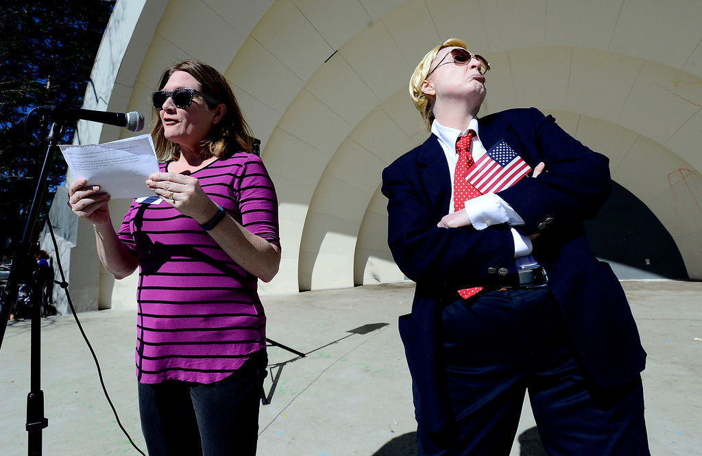 . Julie Simons, playing President Donald Trump, turns her back on the speaker Delana Maynes ACLU Colorado Field Organizer at the Bandshell in Central Park �People�s Address�, an alternative to President Trump�s address to Congress in Boulder on Saturday. For more photos go to www.dailycamera.com. Paul Aiken Staff Photographer March 4 2017