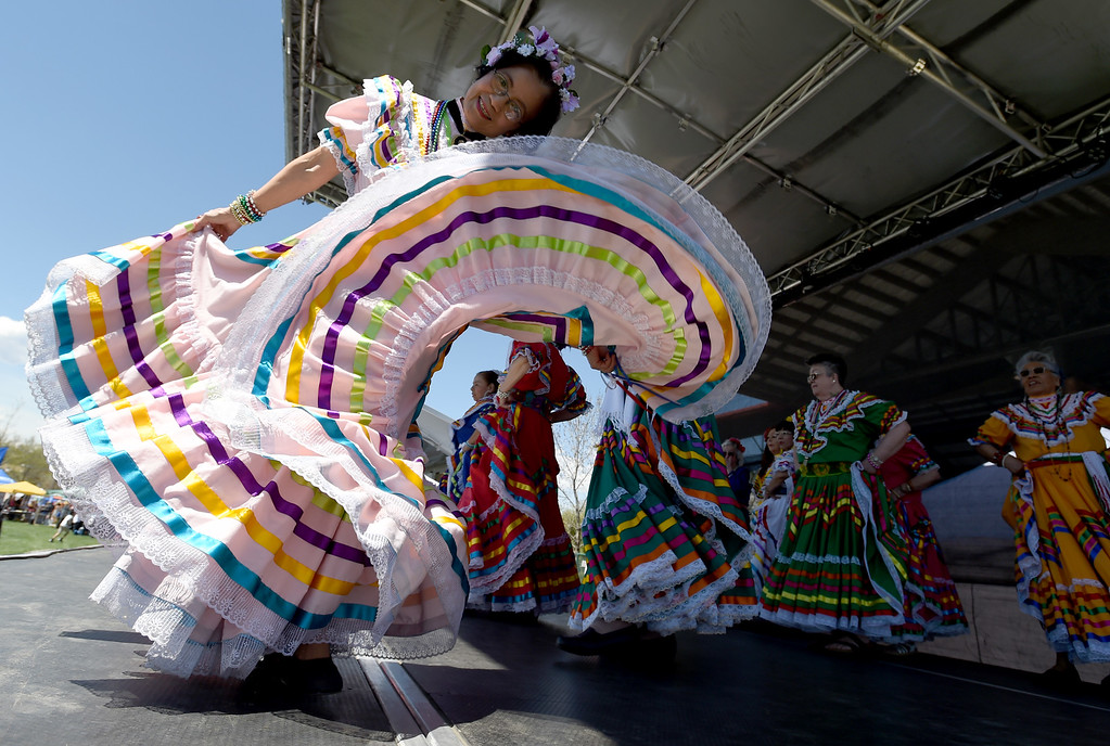 ". Members of ""Dances of the Land,\"" perform at the festival. The 15th annual Longmont  Cinco de Mayo Celebration was held at Roosevelt Park on Saturday. For more photos and a video, go to www.dailycamera.com. Cliff Grassmick  Staff Photographer May 6, 2017"