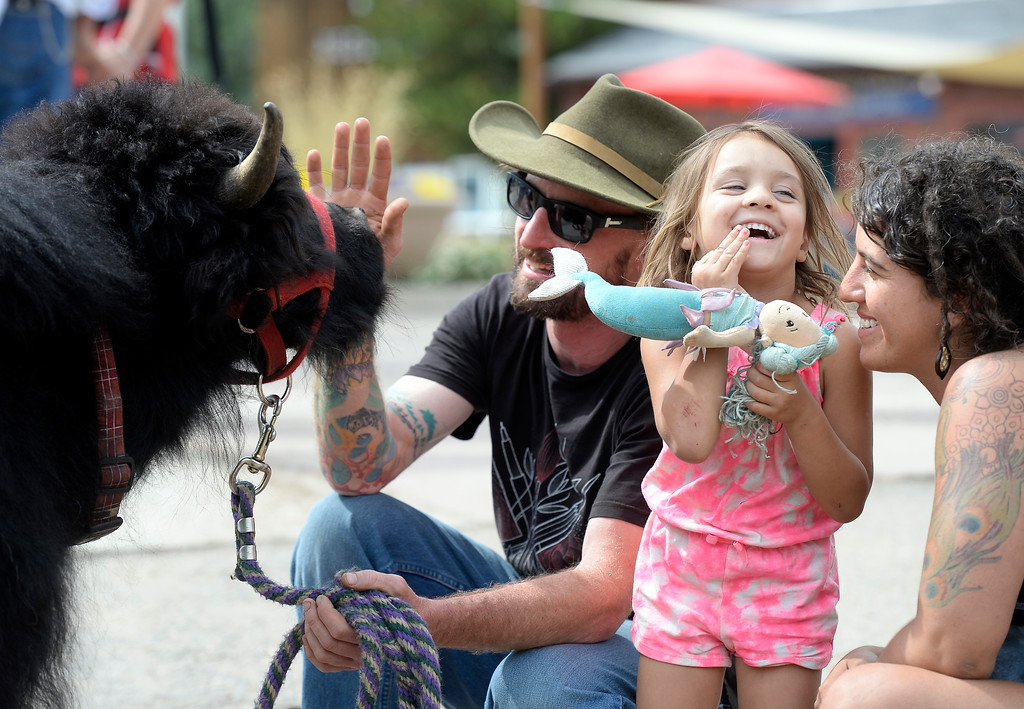 ". Lily, 4, laughs with her mother Kristen Argus after meeting Anthony Ricketts and his pet Yak ""Murray\"" on Monday in Nederland. For more photos and video of Murray the Yak go to dailycamera.com Jeremy Papasso/ Staff Photographer/ July 10, 2017"