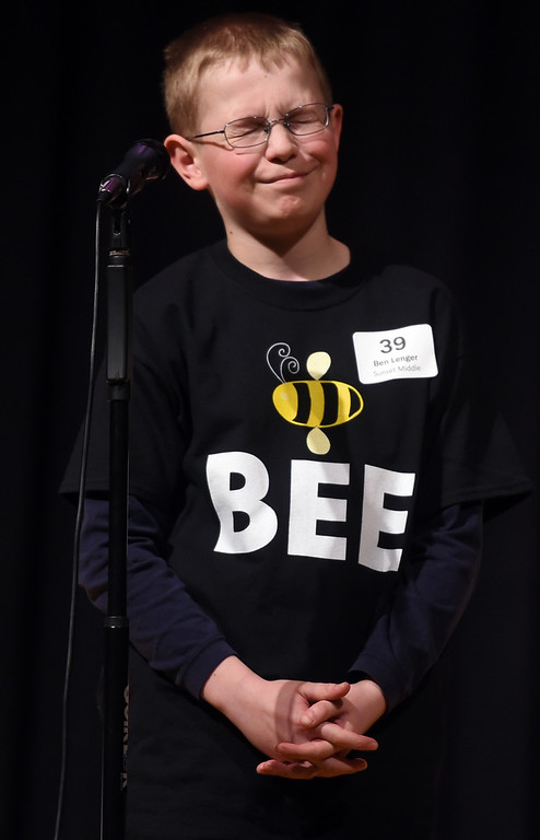 . Ben Lenger, of Sunset Middle School in Longmont, thinks hard on this word. He eventually won. The 2017 Barnes & Noble Boulder Regional Spelling Bee was held at Nevin Platt Middle School in Boulder on Saturday. Cliff Grassmick  Staff Photographer February 25, 2017