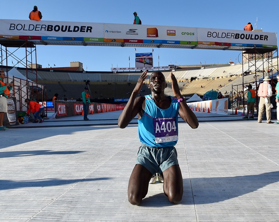 . Barnabas Kosgei wins the Citizens Race of the 2017 Bolder Boulder. Photo by Cliff Grassmick.