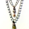 """7-4-RM165-J CO145  COMMUNION MEDAL WITH CLOUDY QUARTZ AND RHINESTONES ON BURMESE JADE, HAND KNOTTED,WITH BAROQUE PEARL AND MOSS AQUAMARINE ROSARY CHAIN AND BLACK CHAIN.  PART OF OUR NEW BOHO LINE 17+2"""""""