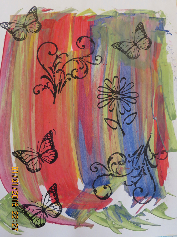 Colorful Background Visited by Butterflies